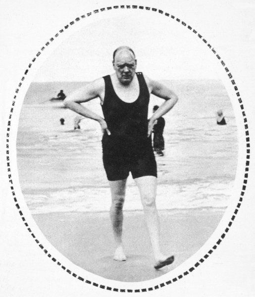 WINSTON CHURCHILL bathing at Deauville, August 1922 Date: 1874 - 1965