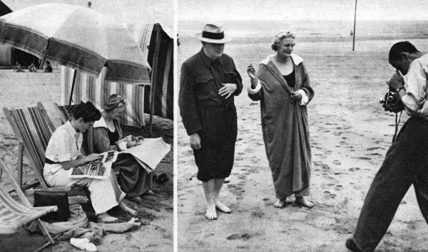 Comfortably clad in beach attire, Mrs. Churchill and her daughter, Mary, spent a few peaceful moments reading the papers and enjoying the sunshine