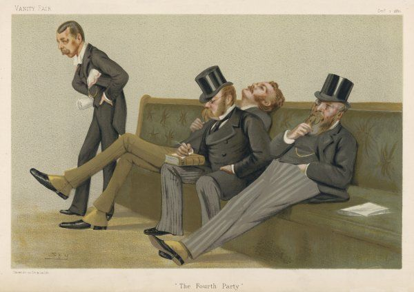 LORD RANDOLPH SPENCER CHURCHILL MP speaking in Parliament while Wolff, Balfour and Gorst listen (or fall asleep, more like)