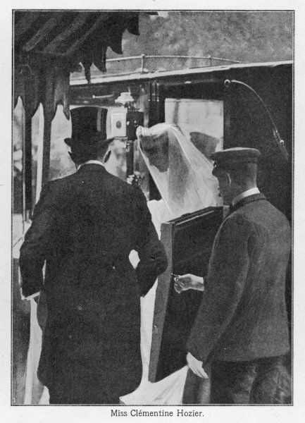 WINSTON CHURCHILL Miss Clementine Hozier getting out of the carriage, on the day of her marriage to Winston Churchill