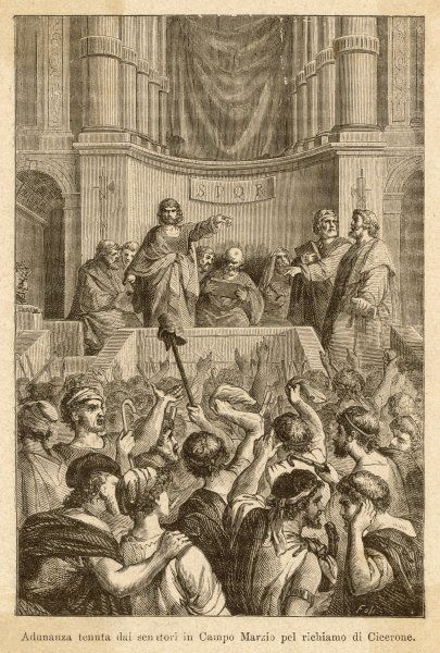 Catiline, plotting to seize power in Rome, is denounced in the Senate by Cicero