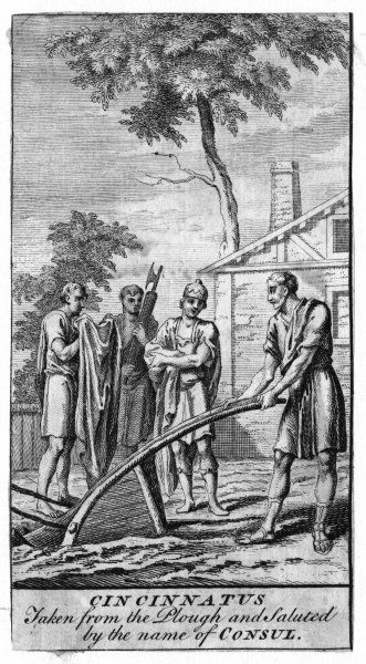 Cincinnatus is happily at work on his farm when a delegation arrives from Rome inviting him to become consul : such is his sense of patriotic duty that he says yes