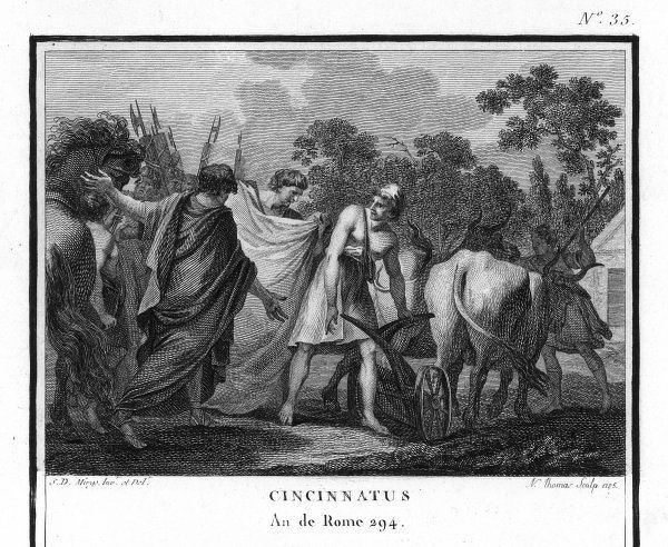 Lucius Quinctius Cincinnatus (519 BC-438 BC) is called from the plough to serve as Roman Consul