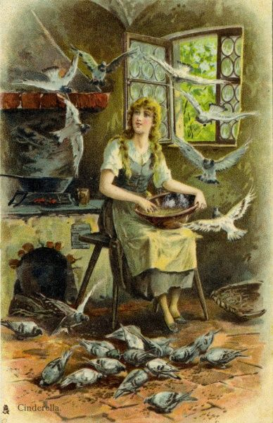 Cinderella with birds. early 20th century