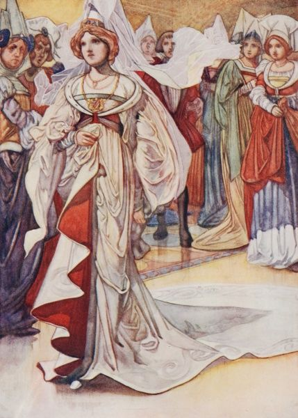 Cinderella by Charles Robinson. 'Cinderella appears at the ball'. A fairy tale by Charles Perrault 1911