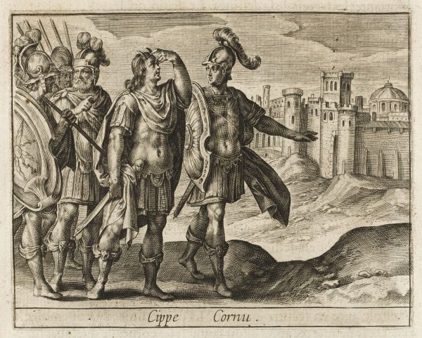 Cippius Genutius, after winning a battle, finds horns on his head, signifying that when he enters Rome he will be made king : detesting royalty, he prefers exile