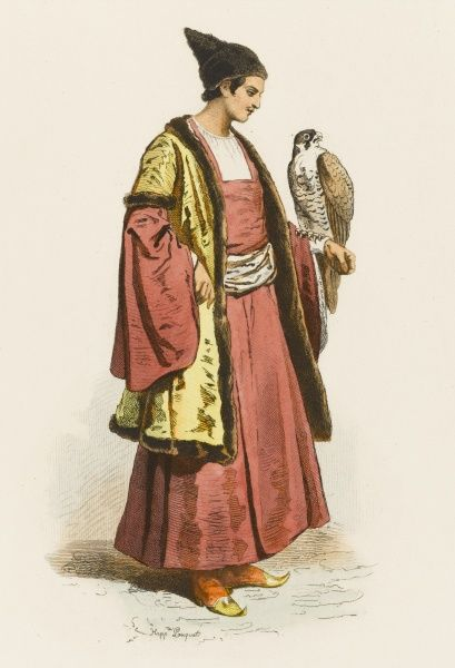 A Circassian falconer from southern Russia, with his falcon on his arm