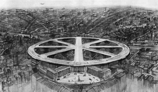 A suggested central London overhead airport at King's Cross showing aeroplanes landing on the runways of a huge wheel-shaped structure Date: 1931