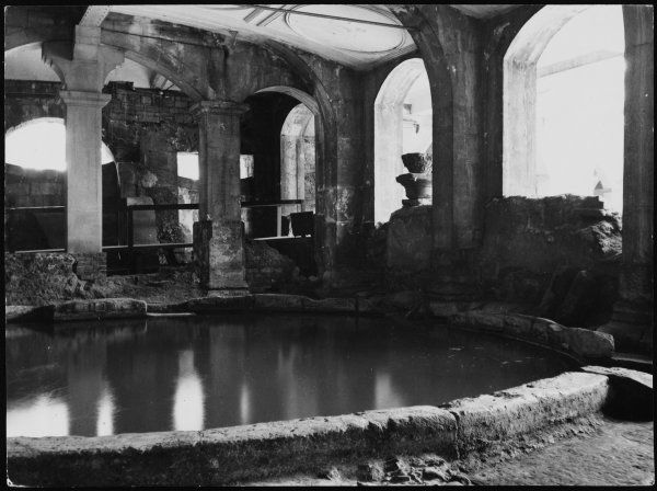 The Circular Roman Bath at Bath, Somerset. The existence of the remains were secret until 1755, when hot water came rushing out of the Roman masonry