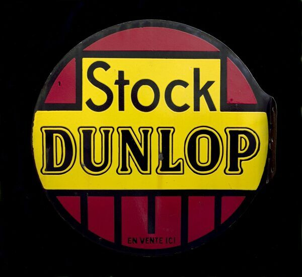A round sign for Dunlop Stock. *EDITORIAL USE ONLY*