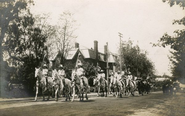 Circus horses parrading though the streets, America