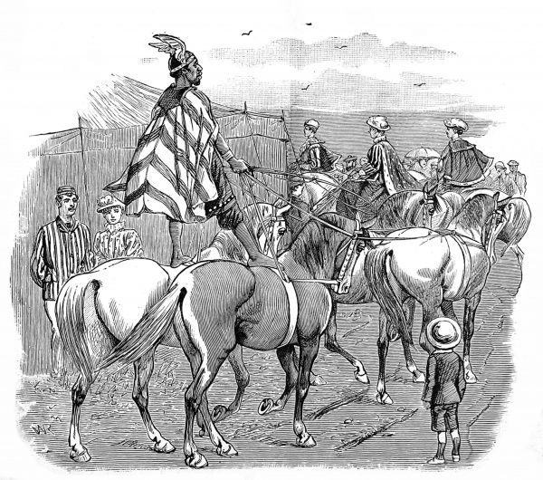 Engraving showing a circus procession heading towards the 'Big Top' at the start of a show, in an English country town, c.1886. This picture shows a performer standing astride two horses, with another pair in hand as well