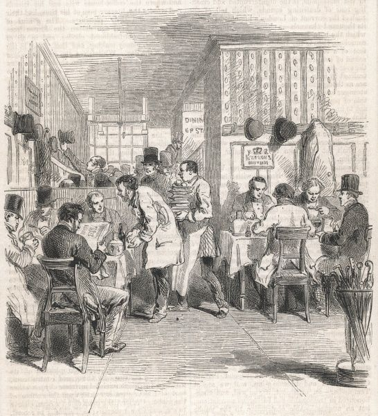 A busy scene in a City of London dining room