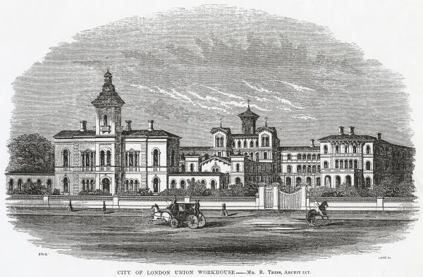 Situated where Mile End Road continues as Bow Road in East London, the City of London Union Workhouse opened in 1849. The palatial building, designed by Richard Tress, later became the union infirmary, and is now St Clement's Hospital
