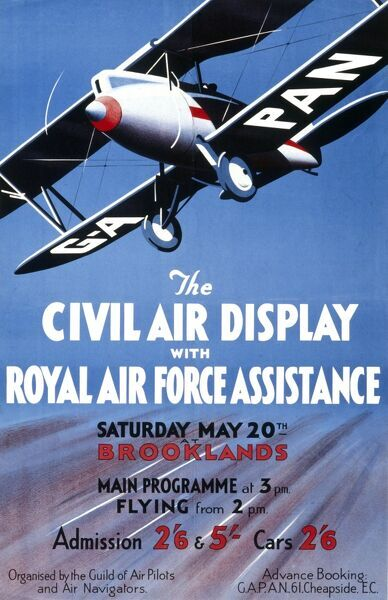 A poster for The Civil Air Display with Royal Air Force Assistance held at the Brooklands motor racing circuit at Weybridge