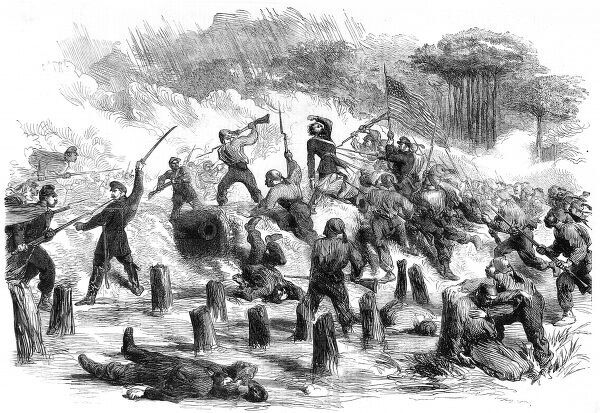 The 9th New York (Hawkins Zouaves)and the 21st Massachusetts taking the Confederate fieldwork on Roanoke island at the point of the bayonet, during General Burnside's expedition to seize the area