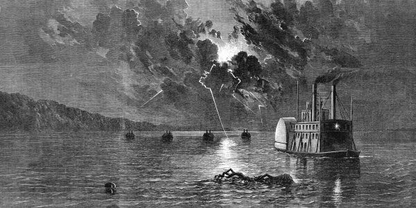 Federal flotilla at anchor, off Fort Pillow. The storm occurred on the night of May 20th 1862, when lightning just missed hitting the amunition boat with 25,000 pounds of gun powder on board