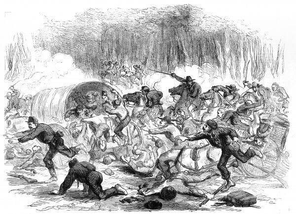 The end of the first Battle of Bull Run, showing Unionists retreating after losing the battle, which took place on July 21st 1869