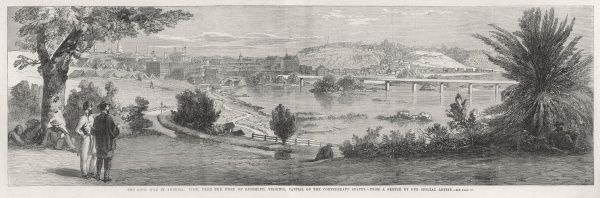 Panoramic view of Richmond, Virginia, capital of the Confederate States with an army encampment in the background