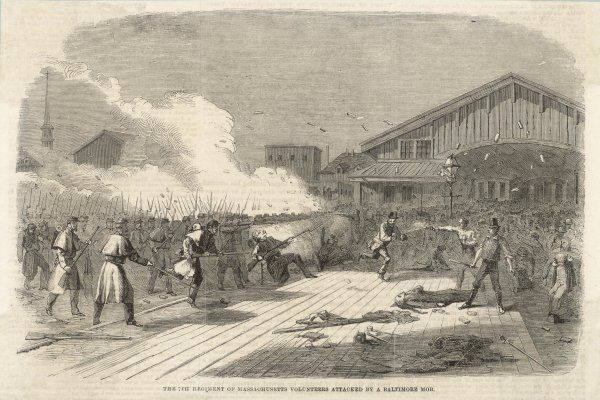 In Baltimore, Maryland, the 7th regiment of Massachusetts Volunteers are attacked by a mob of townspeople who support the Confederacy