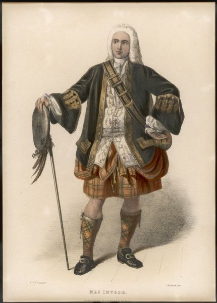 CLAN MAC INTOSH. Clan MAC INTOSH a young 18th century gentleman in wig and kilt