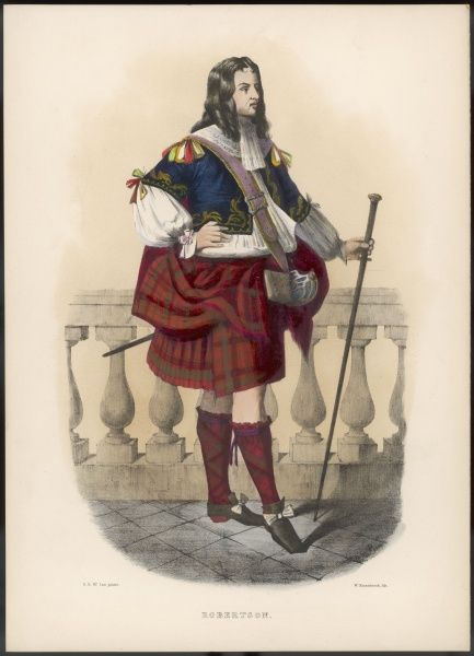 Clan ROBERTSON elegantly dressed and sporting a staff