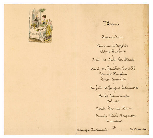 A dinner menu from the Claridge's Hotel, London