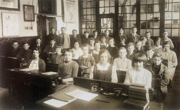 A classroom scene at Holy Trinity School, East Finchley, North London - boys and girls of Classes 6 and 7