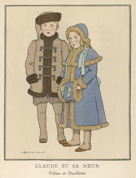 Girl: blue pelisse with cape & fur trim with matching muff & hat. Boy: fur lined coat with brandenbourgs & a fur hat. Both children wear gaiters