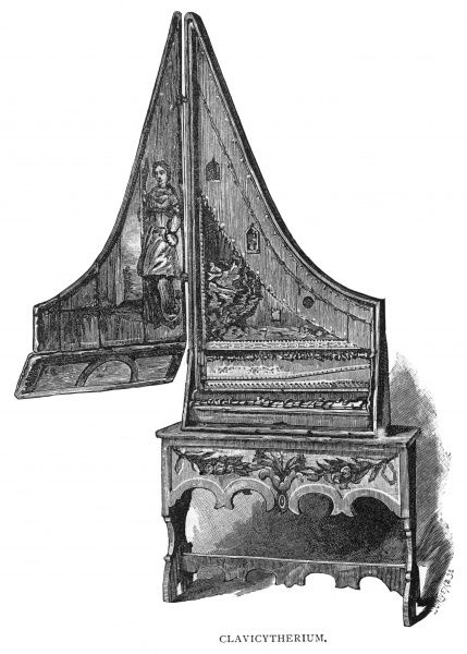A keyboard instrument which shows the evolution from fingered instruments such as the harp to struck instruments such as the clavichord