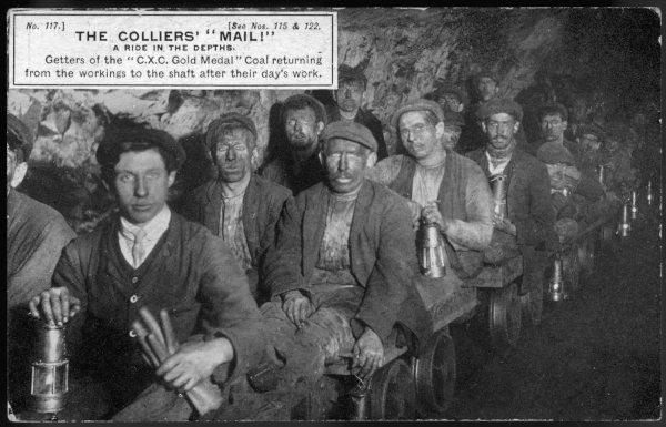 Colliers - getters of the coal - at the end of the shift at Clay Cross mine