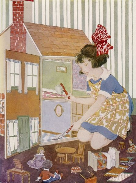 A girl spring cleans her dolls' house