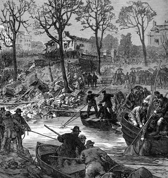 Clearing up the debris after a massive explosion caused a bridge over the Regents Canal to blow up. A barge covered in petroleum and gun powder blew up as it passed underneath the bridge on the night of1st of October 1874. Several lives were lost