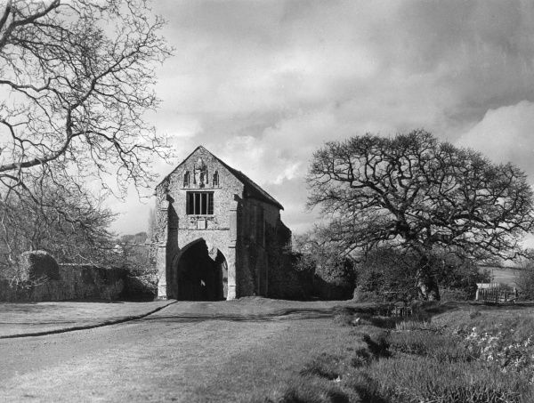 This splendid gatehouse is all that remains of Cleeve Abbey, a Cisterian Abbey, at Washford, Somerset, England. Date: founded 1198