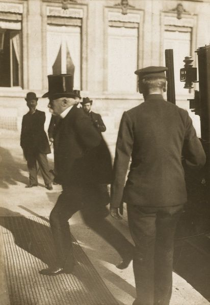 GEORGES CLEMENCEAU French politician arrives at the government buildings in Paris