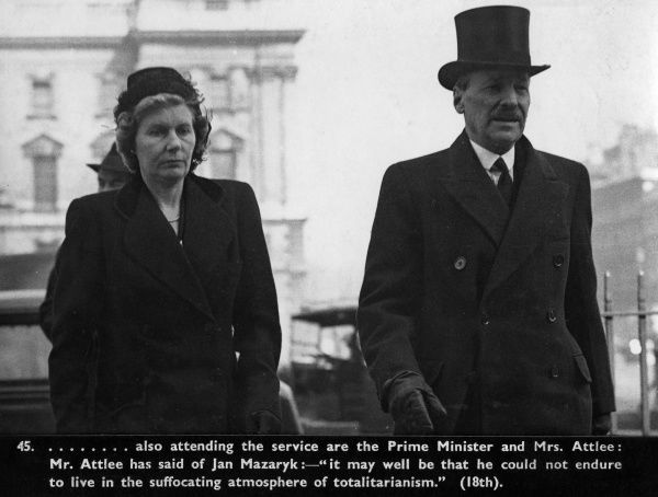 Prime Minister, Clement Attlee and his wife Violet attending the memorial service for the Czecho-Slovak Foreign Minister, Jan Mazaryk.  1948