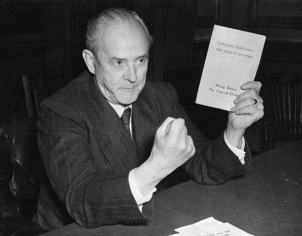 Clement Davies (1884-1962) English politician and leader of the Liberal Party from 1945-1956, seen here at the Liberal Election press conference on the 3rd October 1951