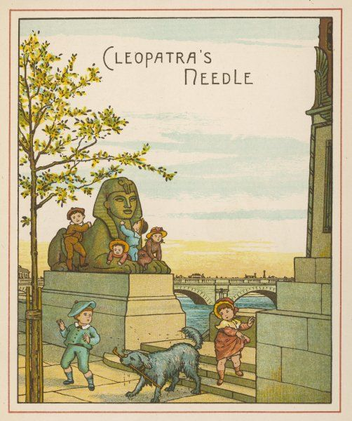 Cleopatra's Needle on the Embankment, with six children and their dog
