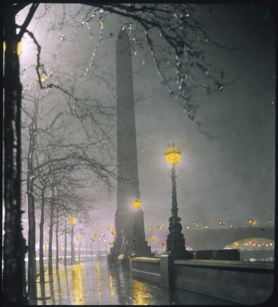 Cleopatra's Needle on the Embankment by night