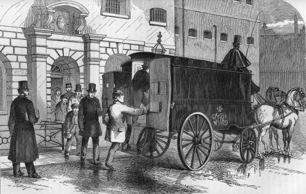 Prisoners are taken from Clerkenwell House of Detention to the courts in a horse-drawn coach.  1862