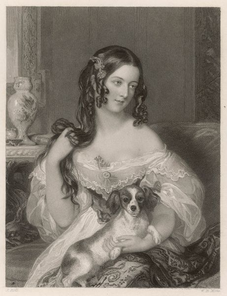 DUCHESS OF CLEVELAND Born - Catherine Lucy Wilhelmina Stanhope. Playing with her hair with a dog on her lap