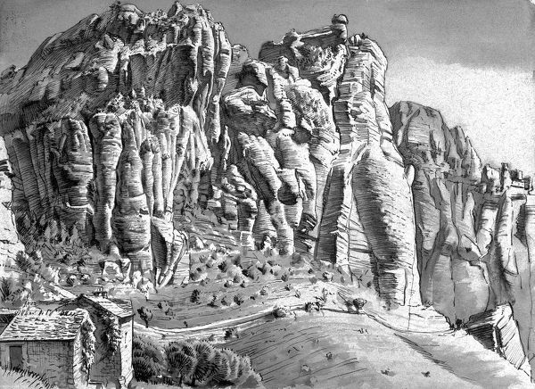 Study of a rocky cliff face in the mountains. A small cottage is dwarfed by the landscape