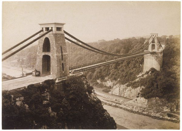 Clifton suspension bridge over the Avon, linking Gloucester- shire and Somerset, opened 1864, is largely constructed from the materials of London's former Hungerford Bridge