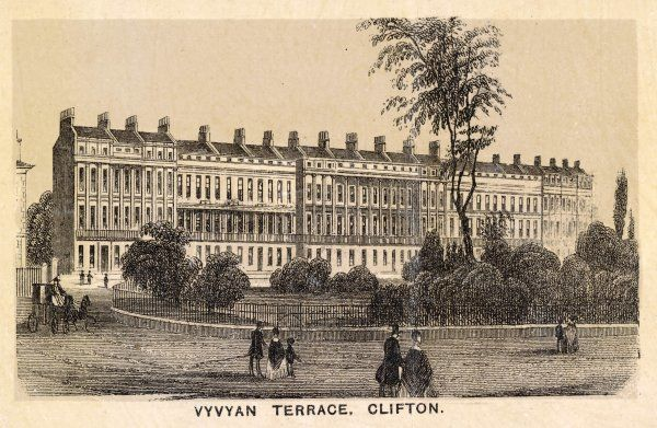 Showing VYVIAN TERRACE, CLIFTON with grand mansion houses overlooking a private railed garden for residents