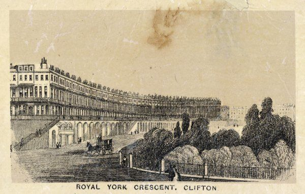 Showing ROYAL YORK CRESCENT, CLIFTON with grand mansion houses overlooking a private railed garden for residents