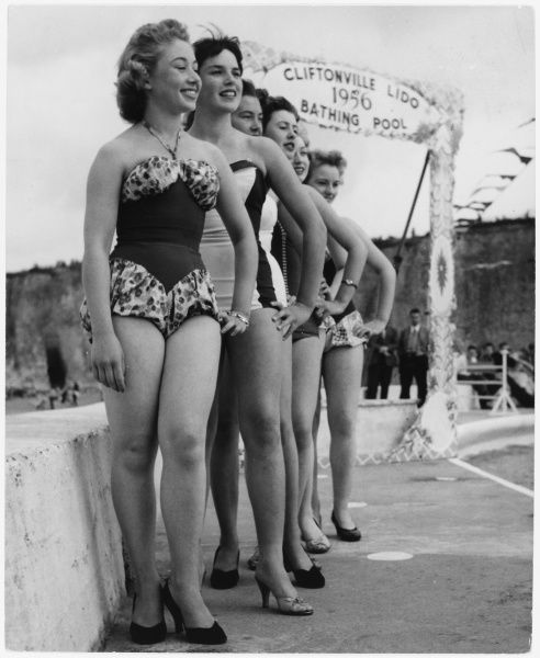 Local girls line up during a beauty contest at Cliftonville Lido, all hoping to be judged the fairest girl in town