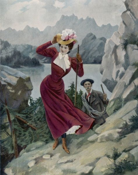 A lady climbs a Swiss mountain in pretty well the same clothes as she would walk the dog in the Bois de Boulogne