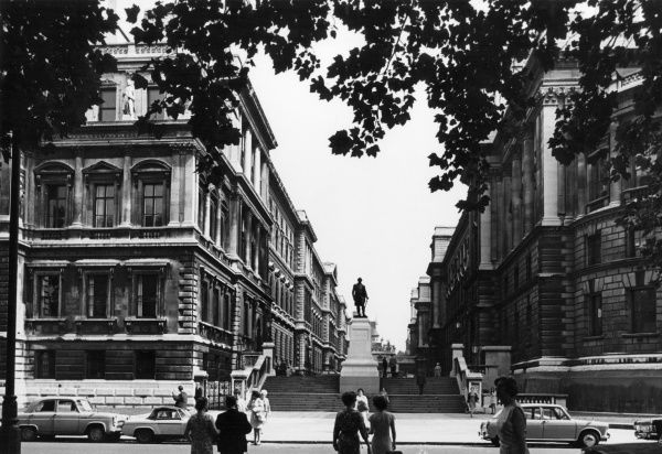 Memorial statue of Robert Clive, 1st Baron on Plassey ('Clive of India'), King Charles Street, London, England. Date: late 1960s