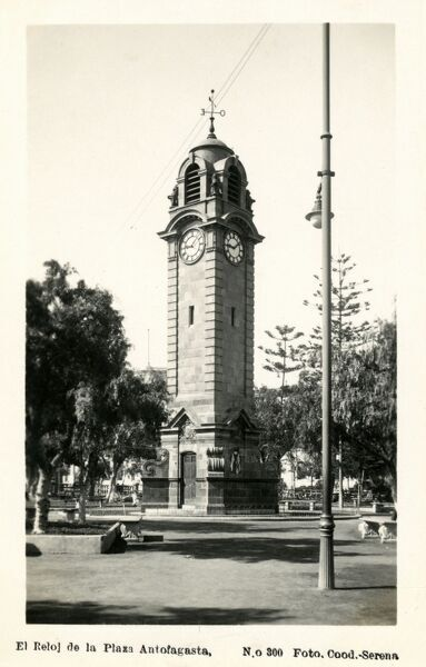 Clocktower in the Square - Antofagasta, Chile Date: circa 1910s