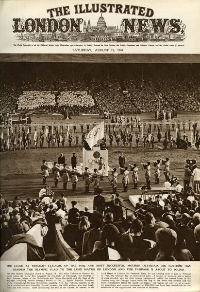 Closing the Olympic Games ceremony at Wembley Stadium, London, on the 14th August 1948. The white Tribune of Honour was placed before the Royal box (occupied by the Duke of Edinburgh, the Duchess of Kent, Princess Juliana of Netherlands and Prince Bernhard)